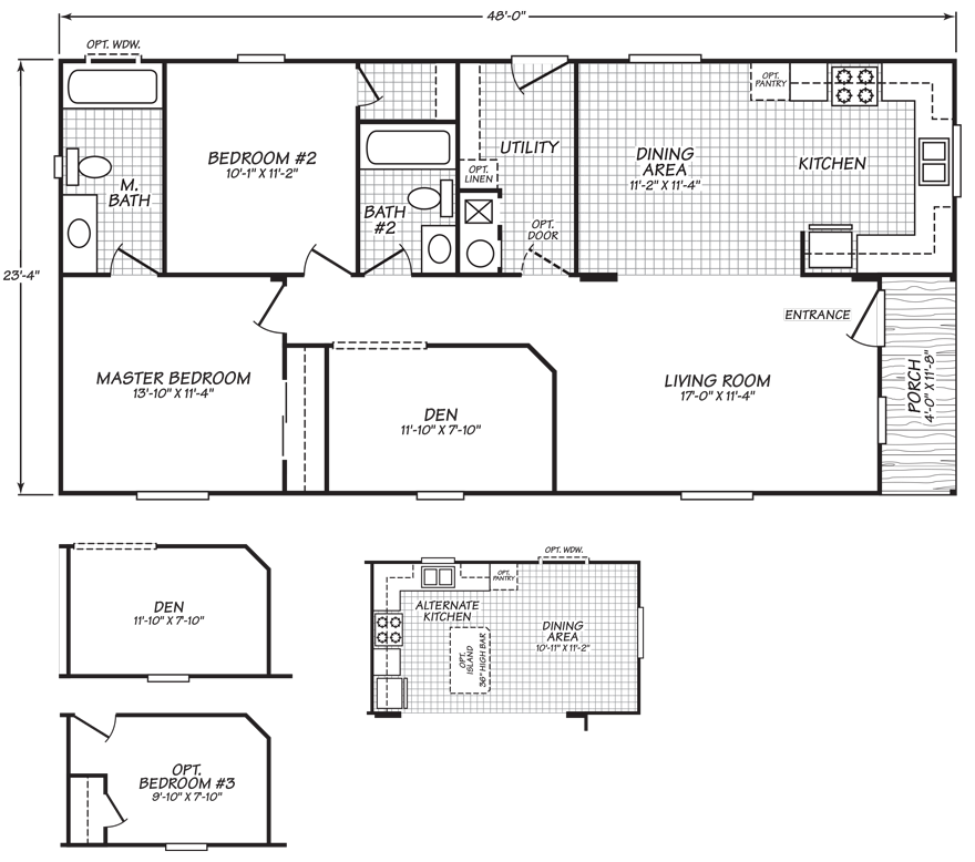 24 X 48 Double Wide Homes Floor Plans